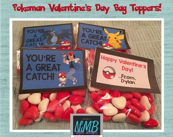 Valentine's Day Bag Toppers/Pokeman