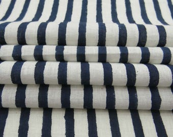 Sold By Yard Indian Hand Block Printed 100% Pure Cotton Voile Fabric, Jaipuri Strip Print Light Weight Cotton Natural Dye Fabric HPS#285