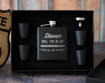 Groomsmen Proposal Gift Set, Groomsman Proposal Flask Set, Groomsmen Gift Box, Best Man Gift, Will You Be My Groomsman, Wedding Party Favors