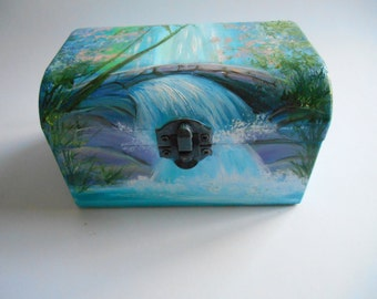 Painted wood box etsy for Waterfall design etsy