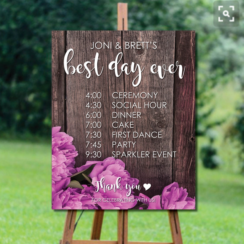 Wedding Itinerary Country Wedding Decorations Rustic Wedding