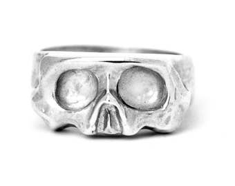 Sliced Silver Skull Ring