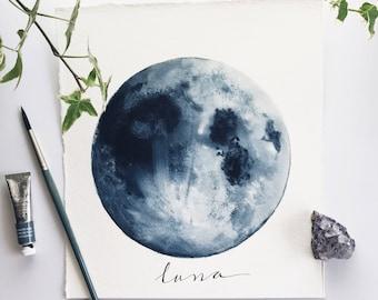 Blue Moon, Watercolor Original Painting, Luna, Art Decor, Indigo Moon, Space Art