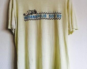 1982 INDIANAPOLIS 500 TGIF FRIDAYS Distressed Threadbare Vintage T Shirt // Size Large