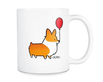 Red Balloon Corgi 11oz Ceramic Mug | Choose Red, Red Tri-Color, Tri-Color | Cute Coffee Mugs | Corgi Lover