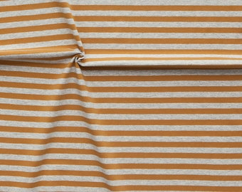 1/2 Yard Organic Cotton Jersey Knit,NOSH ORGANICS,Midi Stripe Jersey Nutmeg -Mel. Grey ,Organic Knit Fabric