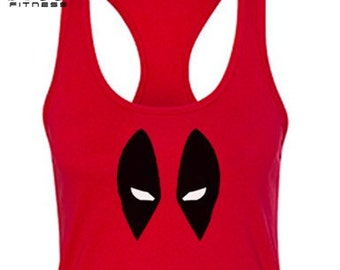 Deadpool Tank Top, Deadpool Shirt, Marvel Deadpool, Womens Workout. FREE SHIPPING.