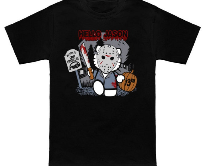 HELLO JASON Hello Kitty/Friday the 13th Mash-Up Sanrio Jason Voorhees Geek T-Shirt Nerd Horror Anime Shirt