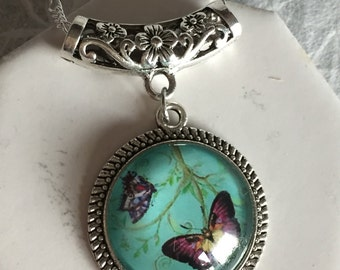 Butterfly Turquoise and Silver Pendant Necklace