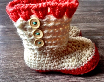 Crochet Baby Boots, 3-6 months, Coral and Cream Baby Boots
