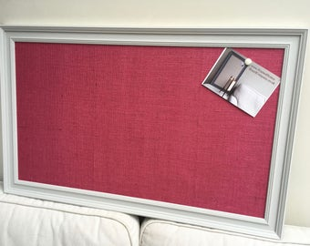 Hessian pin board. Hessian bulletin board. Hessian memo board. Hessian message board. Pink pin board. Pink cork board. Fabric notice board.