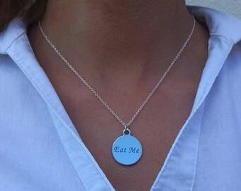 Eat me necklace, Eat me jewelry, Literary jewelry, Eat me Alice jewelry, Eat me charm, Book lovers jewelry, Wonderland eat me,Eat me pendant