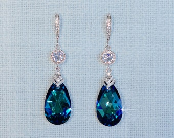 Handmade Swarovski Crystal Bermuda Blue Pear with CZ Connectors Dangle Earrings (Sparkle-2690)