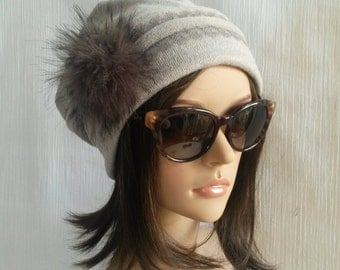 Cap tassel fake fur / Grey Hat / Bonnet stripe lace / bonnet fancy