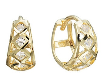 14k Solid Yellow Gold Hoop Earrings Bosco 6734 Charming Round Design Lovely