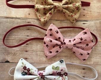Floral fabric bow headband, floral headband, tuxedo bow headband