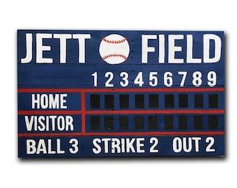 Custom Name Baseball/Softball Scoreboard Wooden Painted Sign