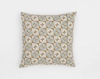 Tara Handscreen Printed Cushion Cover - Sea Grey / Fawn 40x40cm