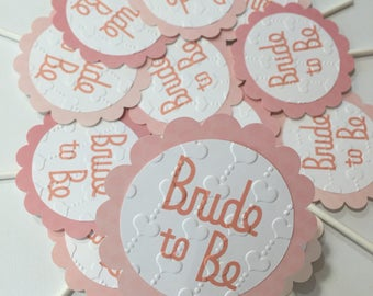 Bridal Shower Cupcake Toppers-Set of 12- Wedding toppers-Bachelorette party cupcake toppers-Bride to be party decoracion