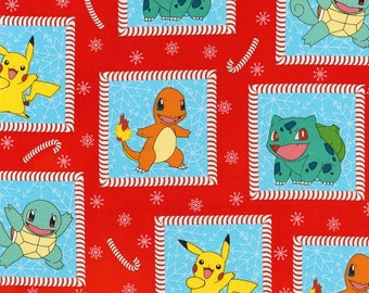 POKEMON BLOCK Multi-colored 100% cotton fabric material by the 1/2 yard liscensed for Crafts, Quilts, clothing and Home Decor