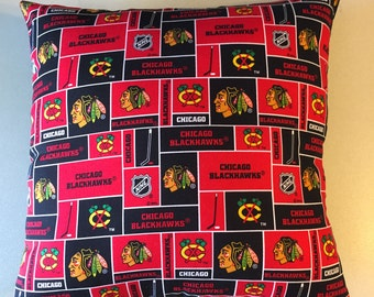 NHL CHICAGO BLACKHAWKS Patchwork Hockey Throw pillow, sports fan, decorative pillow, gift, pillow cover, man cave, official fabric