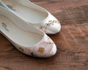 Hand-painted floral flat ballerina ivory wedding shoes Roses and Cherry Blossom print