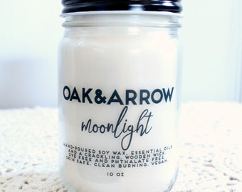 MOONLIGHT//Soy Wax Wood Wick Candle//Hand Poured Soy Candle//10oz