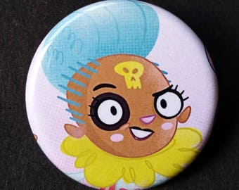 Britton - Apocalyptic Llama Girl Badge Button