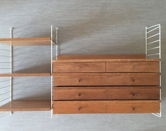 Mid century 60's string shelf with four drawers