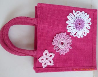 63. Pretty Pink Hessian Bag With Hand Crocheted Flowers