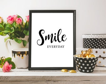 Smile Printable / Smile Digital Print | Motivation Wall Decor | Smail Wall Print | Home Wall Decor | Typographical Print | Positive Quote