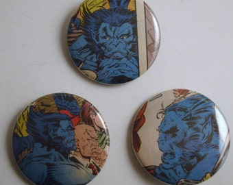 """Beast X-Men 1.5"""" Recycled Comic Button Set of 3"""