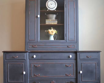 Antique Buffet Hutch, Vintage Storage Hutch, French China Hutch, Shabby Chic Display, Dining Room, Entryway, Living Room, Home Furniture