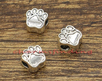 20pcs Dog Paw Beads Spacers Charms Centered Hole Beads Animal Beads Antique Silver Tone 11x11x8mm cf2253