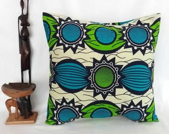 "Envelope Back African Print/Wax Cotton/Ankara Cushion Cover For 16"" Squared Insert"