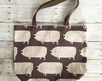 Reusable Grocery Tote, Reusable Bag, Market Bag, Pig Bags, Animal Kitchen Gift, Pig Theme Gift, Farm Kitchen Gifts, Pig Gift