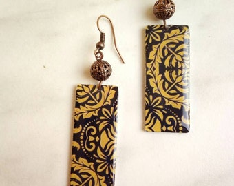 Black and yellow mustard handmade earrings