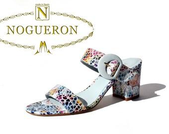 MARINA WELL HEEL - Heeled sandals, womens shoes, leather, light blue color, floral motifs stamped, Spring Summer, Nogueron