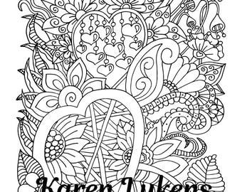 "Valentine's - ""Divine Garden"", 1 Adult Coloring Book Page, Instant Download"