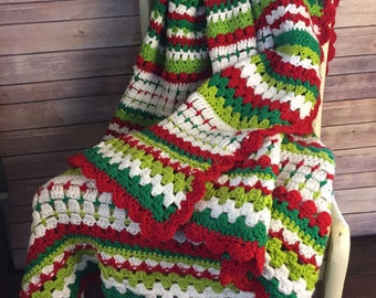 Holly Jolly Crochet Christmas Afghan Pattern