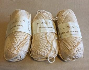 3 balls Rowan Fine Milk Cotton