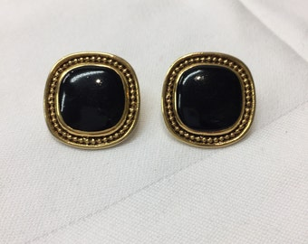 Vintage Black Bead and Gold Tone Earrings Retro Style
