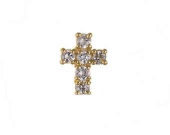 9ct Yellow Gold Gents Clear CZ Cross Stud Earring