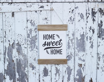 Home Sweet Home, Wall Banner, Canvas and Wood, Wall Hanging, Farmhouse Decor, Rustic Sign, Wood Sign, Wall Hanging