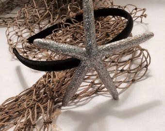 Silver finger starfish black headband