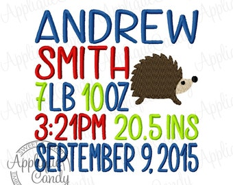 Subway Art Birth Announcement Machine Embroidery Custom Digitized Design 4x4 5x5 6x6 7x7 8x8 9x9 10x10 baby boy girl hedgehog EMAIL DELIVERY