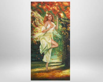 Fairy tale forest, forest, Elf, oil painting, trees, elves, Kunstdrucka on Lerinwand, prints