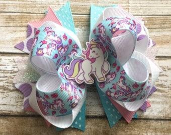 Unicorn Hair Bow, Fairy Tale Hair Bow, Unicorn Boutique Hair Bow, Horse Hair Bow, Girl Hair ...