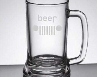 Etched Jeep Beer Sports Mug Glass 26 oz - Jeep Lover - Beer Lover - Funny Beer Mug