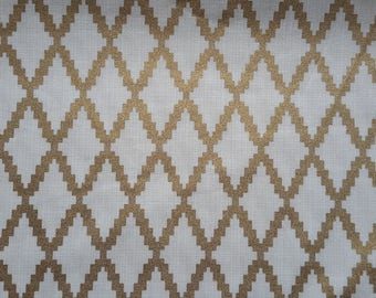 Ivory and Metallic Gold Trellis Quilting Cotton